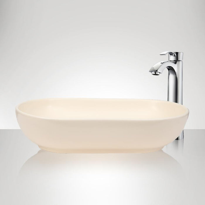 Branford Vitreous China Oval Vessel Sink - Matte Cream