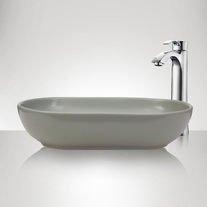Branford Vitreous China Oval Vessel Sink - Matte Light Green
