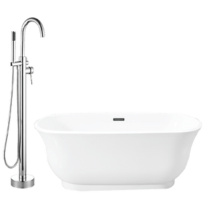 Burney Acrylic Freestanding Tub with Integral Drain, Foam Insulation and Oldham Freestanding Faucet with Hand Shower