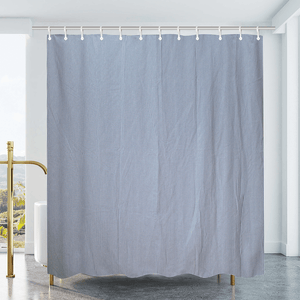 Cotton Duck Shower Curtain - White/Blue Stripes