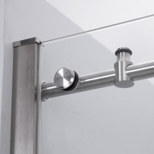 "Dartmoor 48"" W x 76"" H Single Sliding Frameless Shower Door in Brushed Nickel"