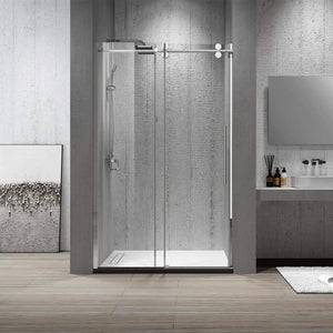 "Dartmoor 48"" W x 76"" H Single Sliding Frameless Shower Door in Chrome"