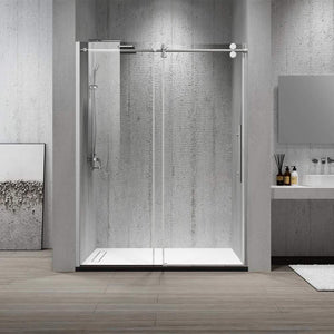 "Dartmoor 60"" W x 76"" H Single Sliding Frameless Shower Door in Brushed Nickel"