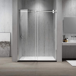 "Dartmoor 60"" W x 76"" H Single Sliding Frameless Shower Door in Chrome"