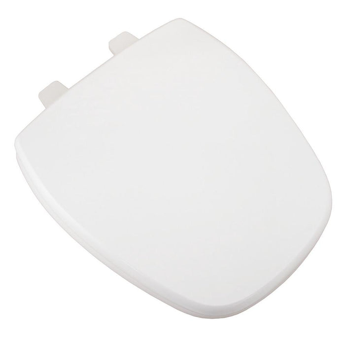 Deluxe Square Front MDF Round Wood Toilet Seat - White