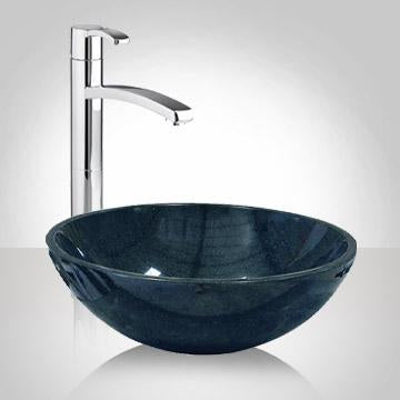 Eldora Smooth Speckled Polished Black Granite Vessel Sink