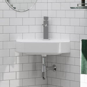 Elga Vitreous China Corner Wall-Mount Bathroom Sink
