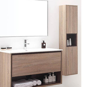 Emida Bathroom Storage Wall Cabinet - Restored Khaki Wood