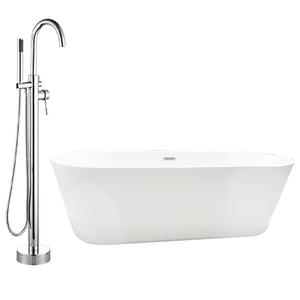 Exton Acrylic Freestanding Tub With Insulation and Oldham Freestanding Faucet with Hand Shower