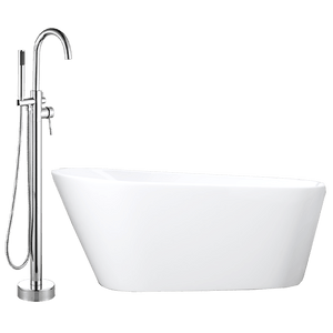 Forlen Acrylic Slipper Freestanding Tub with Integral Drain, Foam Insulation and Oldham Freestanding Faucet with Hand Shower