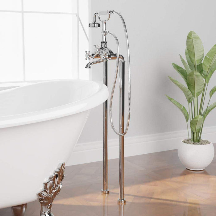 Freestanding Telephone Tub Faucet and Supply Lines - Angular Body and Cross Handles