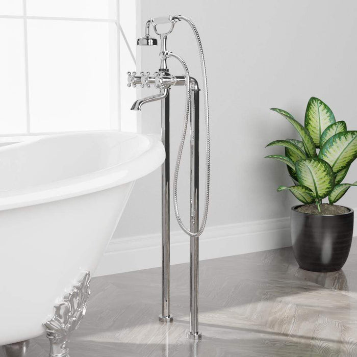 Freestanding Telephone Tub Faucet and Supply Lines - Flat Body and Cross Handles