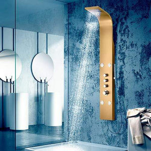 Galway Thermostatic Stainless Steel Shower Panel with Hand Shower - Brushed Bronze Finish
