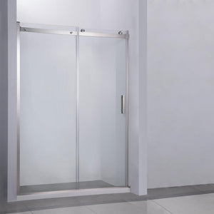 "Garrano 48"" W x 76"" H Single Sliding Frameless Shower Door in Brushed Nickel"