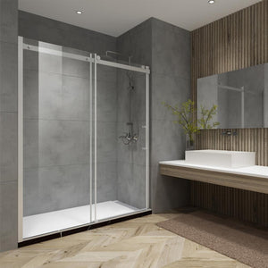 "Garrano 60"" W x 76"" H Single Sliding Frameless Shower Door in Brushed Nickel"