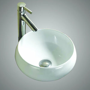 "Geva Vitreous China Vessel Sink with 9"" Rounded End Base"