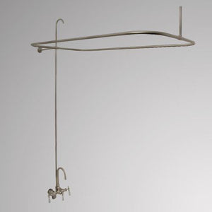 Gooseneck Leg Tub Diverter Faucet with Shower Rod and Riser