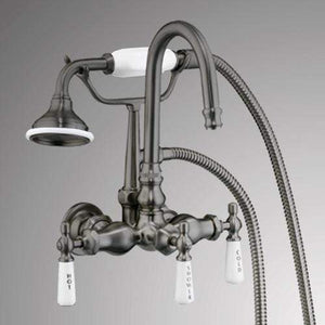 Gooseneck Leg Tub Wall-Mount Diverter Faucet with Hand Shower