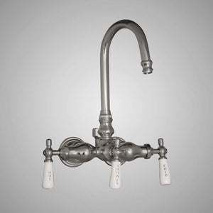 Gooseneck Leg Tub Wall-Mount Diverter Faucet with Porcelain Handles