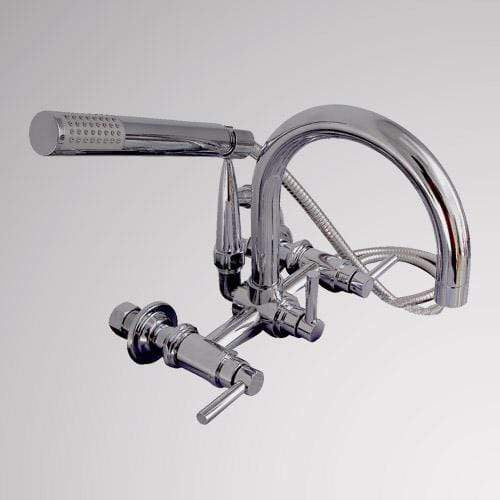 Gooseneck Wall-Mount Tub Faucet with Modern Hand Shower and Modern Lever Handles