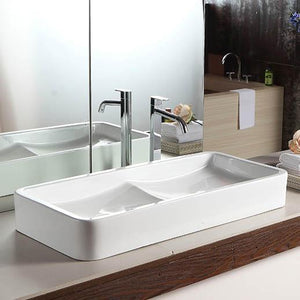 Gurney Vitreous China Double-Bowl Vessel Sink