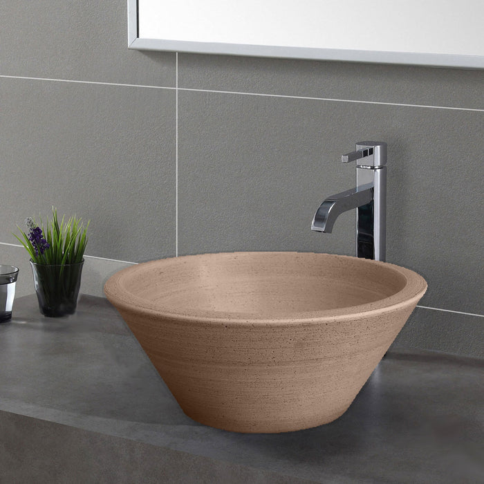 Handcrafted Conical Ceramic Vessel Sink - Dark Gray