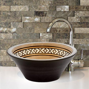 Handcrafted Conical Ceramic Vessel Sink - Decorated Brown