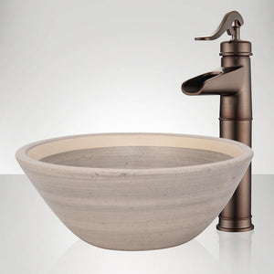 Handcrafted Conical Ceramic Vessel Sink - Striped Gray