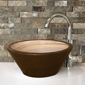 Handcrafted Conical Ceramic Vessel Sink - Swirled Brown