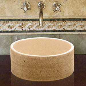 Handcrafted Cylindrical Ceramic Vessel Sink - Beige