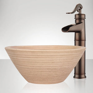 Handcrafted Perforated Conical Ceramic Vessel Sink - Beige