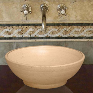 Handcrafted Round Ceramic Vessel Sink - Beige