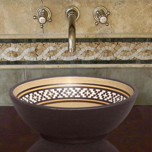 Handcrafted Round Ceramic Vessel Sink - Decorated Brown