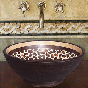 Handcrafted Round Ceramic Vessel Sink - Speckled Brown
