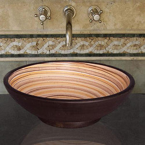 Handcrafted Round Ceramic Vessel Sink - Swirled Brown