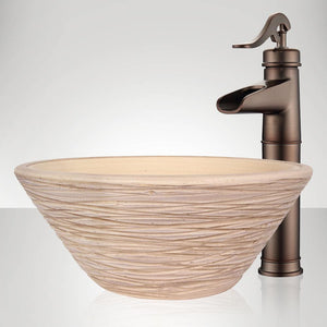 Handcrafted Wave Conical Ceramic Vessel Sink - Beige