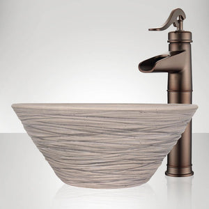 Handcrafted Wave Conical Ceramic Vessel Sink - Gray