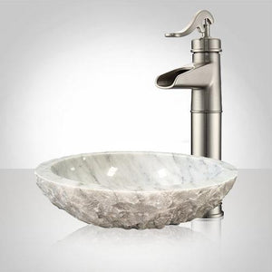 Heglar Polished Carrara Marble Vessel Sink - Chiseled Exterior