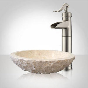 Heglar Polished Cream Egyptian Vessel Sink - Chiseled Exterior
