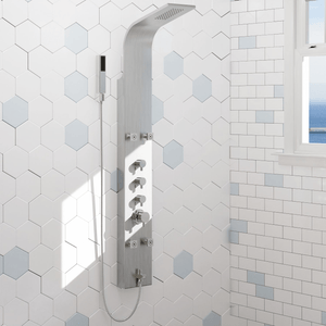 Helma Pressure Balance Stainless Steel Shower Panel with Hand Shower