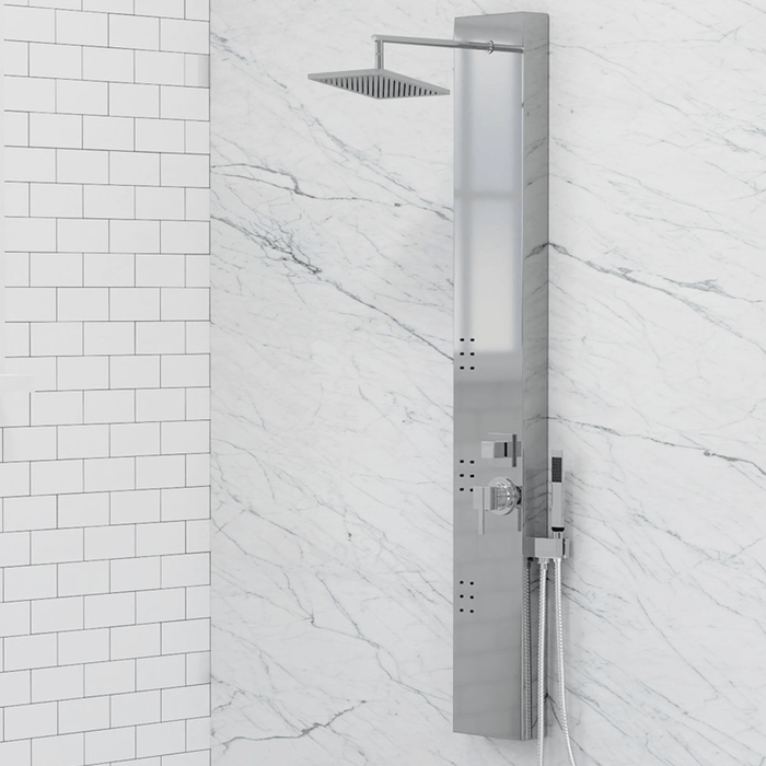 Hertha Pressure Balance Stainless Steel Shower Panel with Hand Shower - Polished Finish