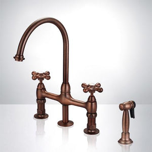Hulsig Bridge Kitchen Faucet with Brass Sprayer