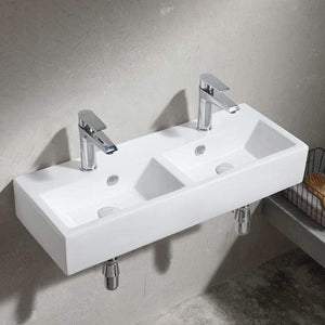 Iola Double-Bowl Vitreous China Wall-Mount Bathroom Sink