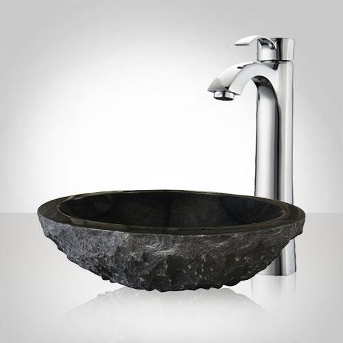 Karval Polished Black Granite Vessel Sink - Chiseled Exterior