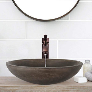 Large Lisman Oval Cast Concrete Vessel Sink - Dusk Grey