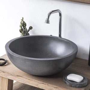 Large Sardis Round Cast Concrete Vessel Sink - Dusk Grey