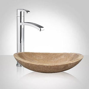 Larkspur Smooth Polished Beige Travertine Vessel Sink