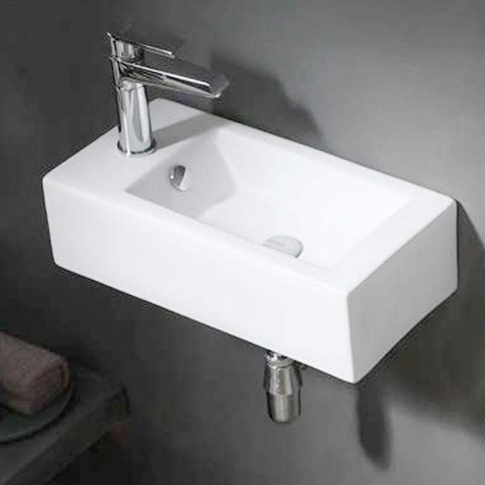 Lublin Vitreous China Wall-Mount Bathroom Sink - Left Side Faucet Drilling