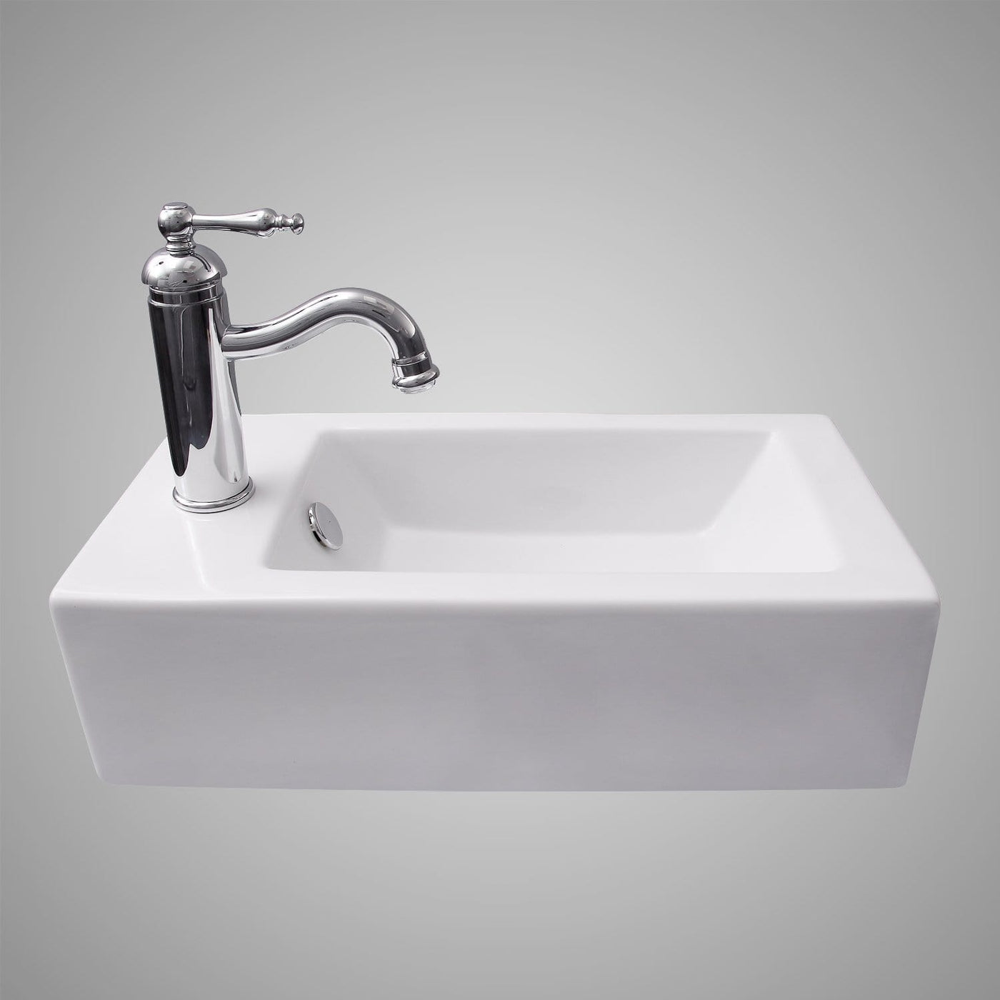 Lublin Vitreous China Wall Mount Bathroom Sink Left Side Faucet Dril Magnus Home Products