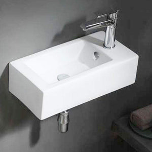 Lublin Vitreous China Wall-Mount Bathroom Sink - Right Side Faucet Drilling